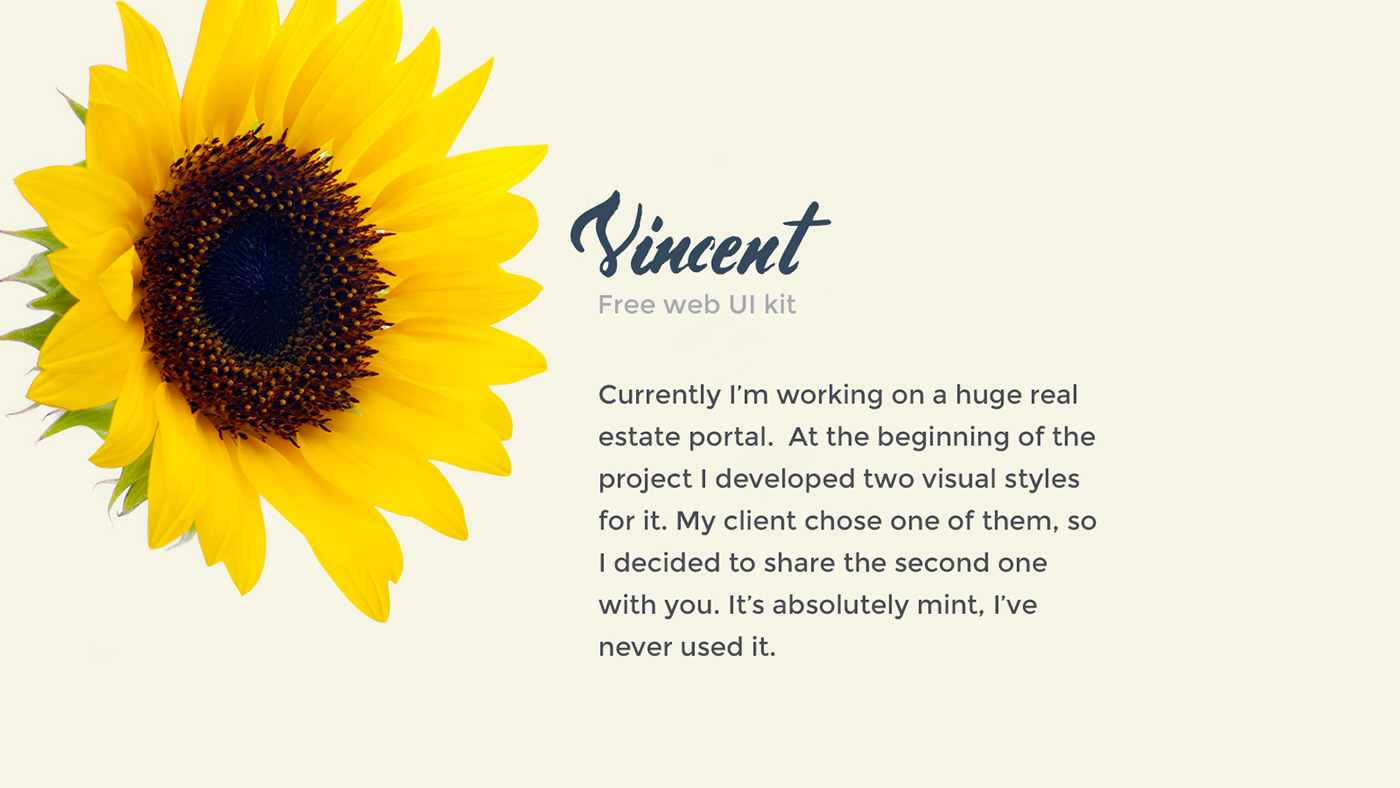free ui kit material design Container-style design Web psd sunflower