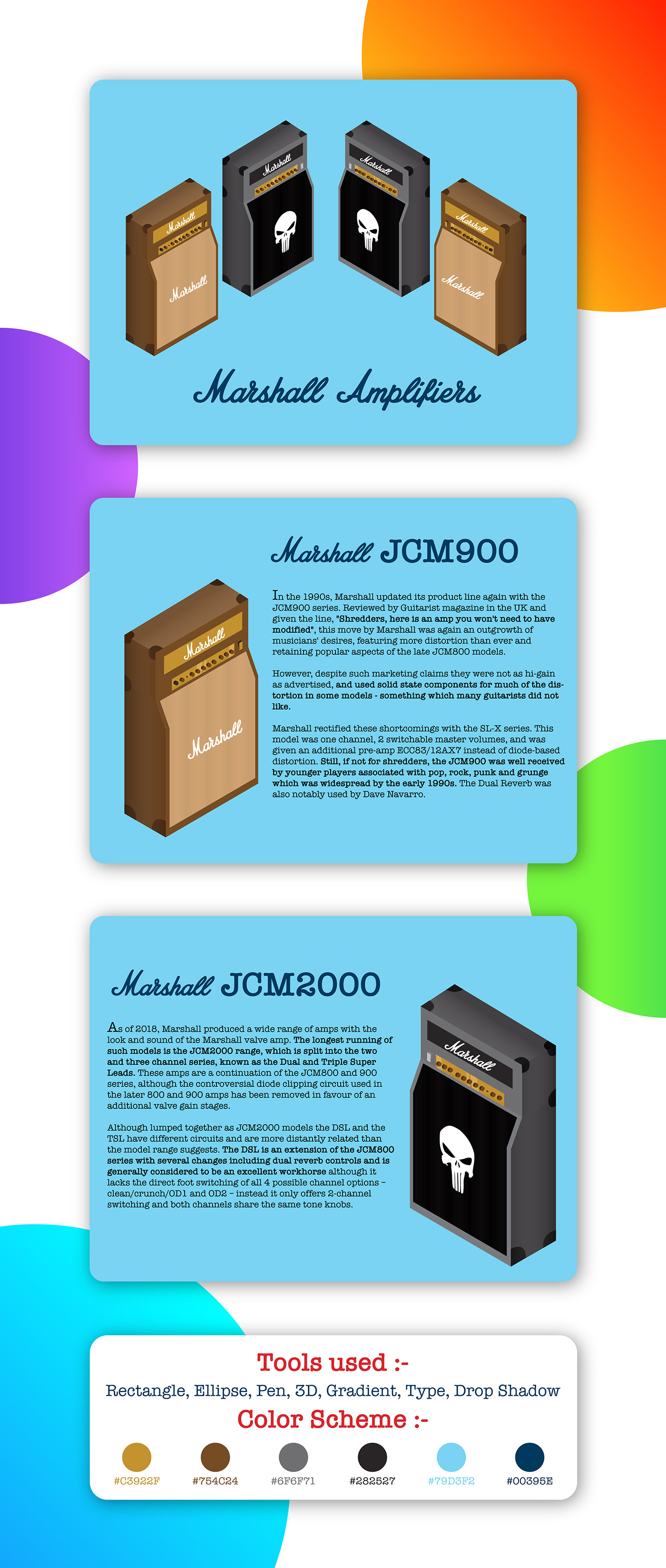 adobe Illustrator adobeillustrator digitalarts Marshall Isometric gradient ILLUSTRATION  amplifier speaker