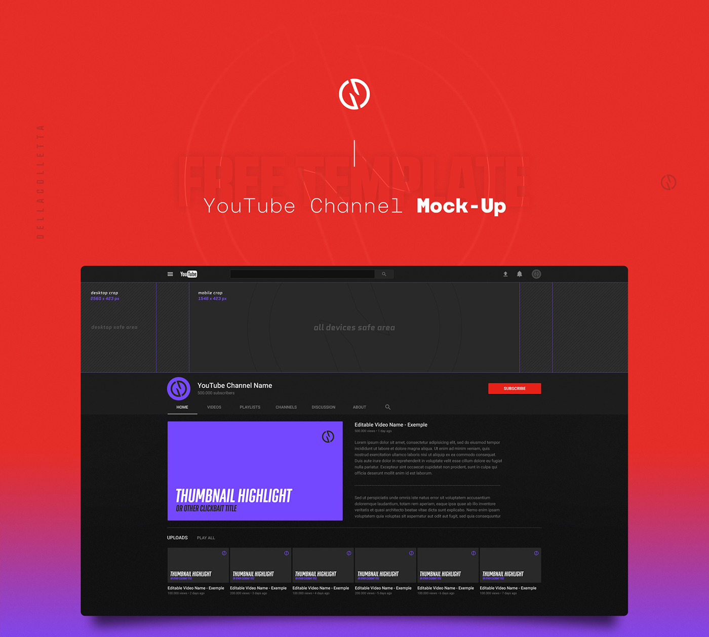 Free Mock Up Youtube Channel Art On Behance