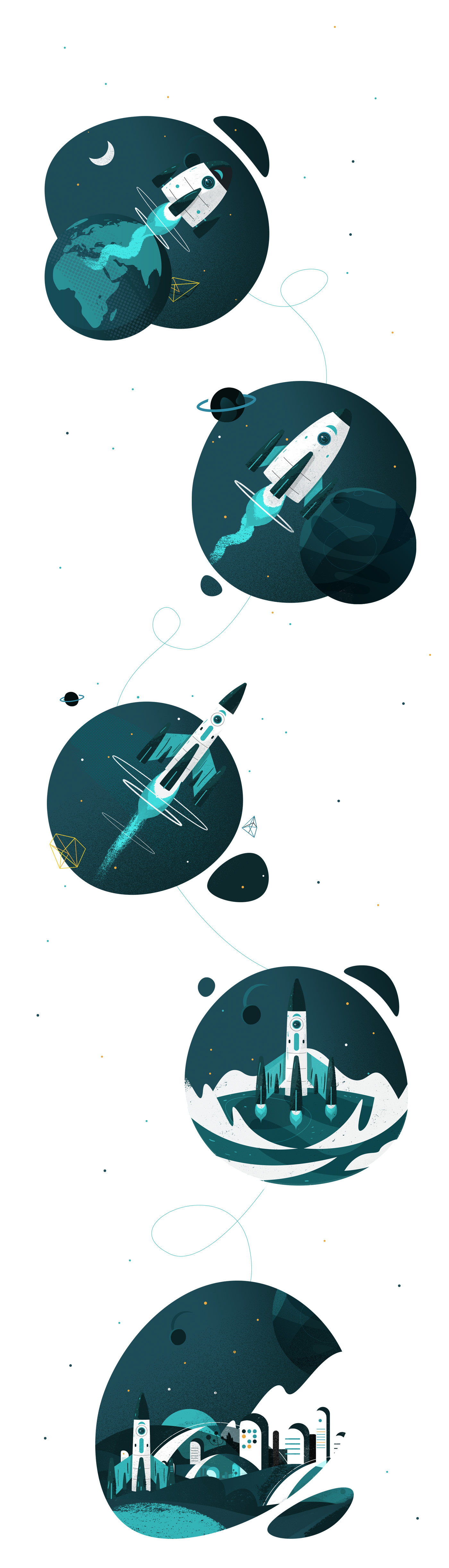Space  spaceship Planets galaxy sci-fi astronaut spationaut