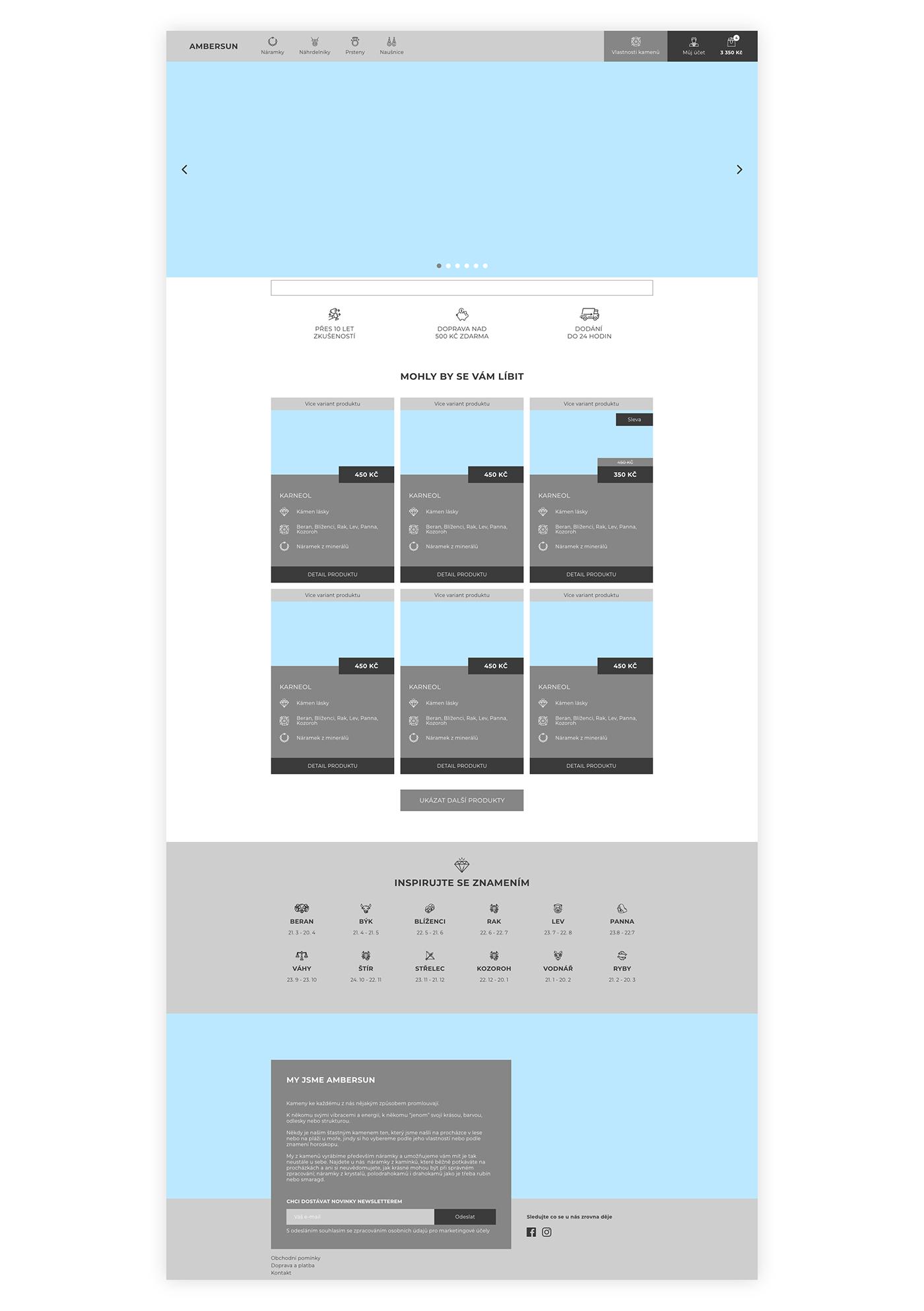 ambersun e comerce eshop UI ux Web Website wireframe