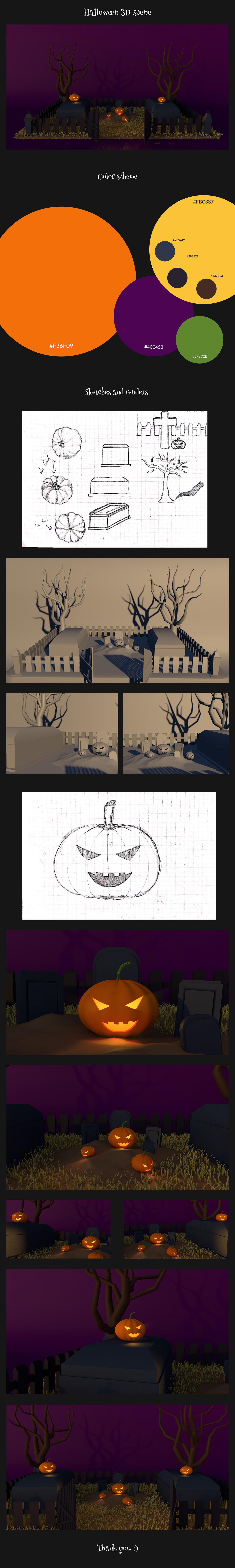 3D cemetery cinema4d Halloween ILLUSTRATION  pumpkin sketches spooky tree