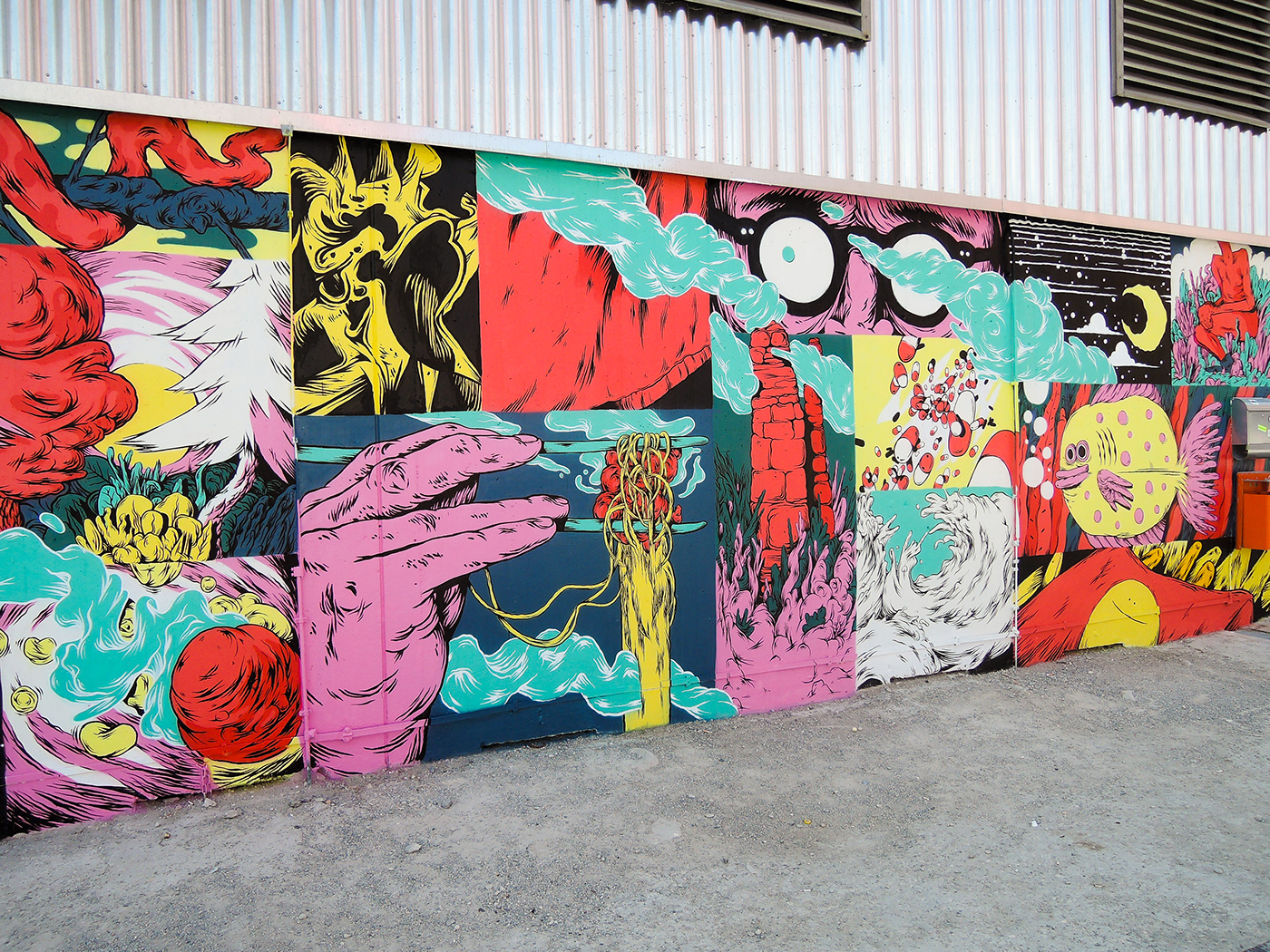 comic Mural panels Food  Colourful  psychedelic vivid movement Fries noodles