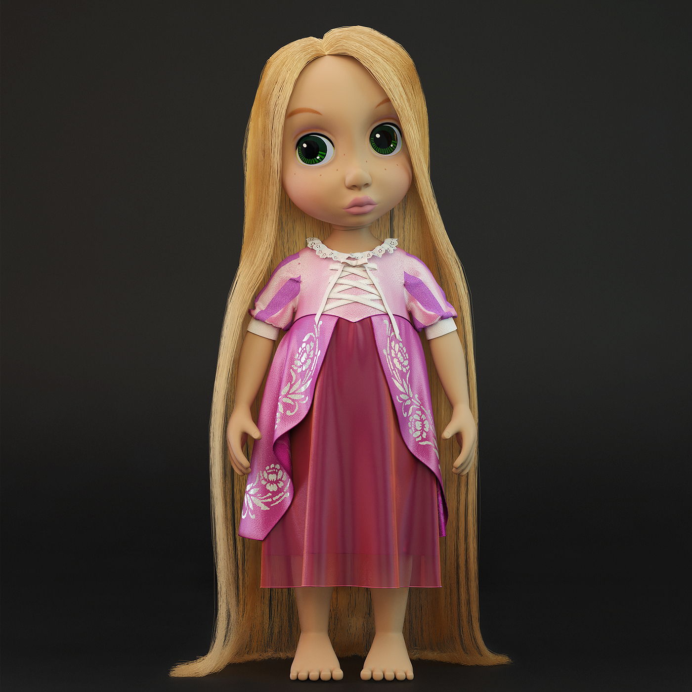 3d Model Of Rapunzel Doll On Behance