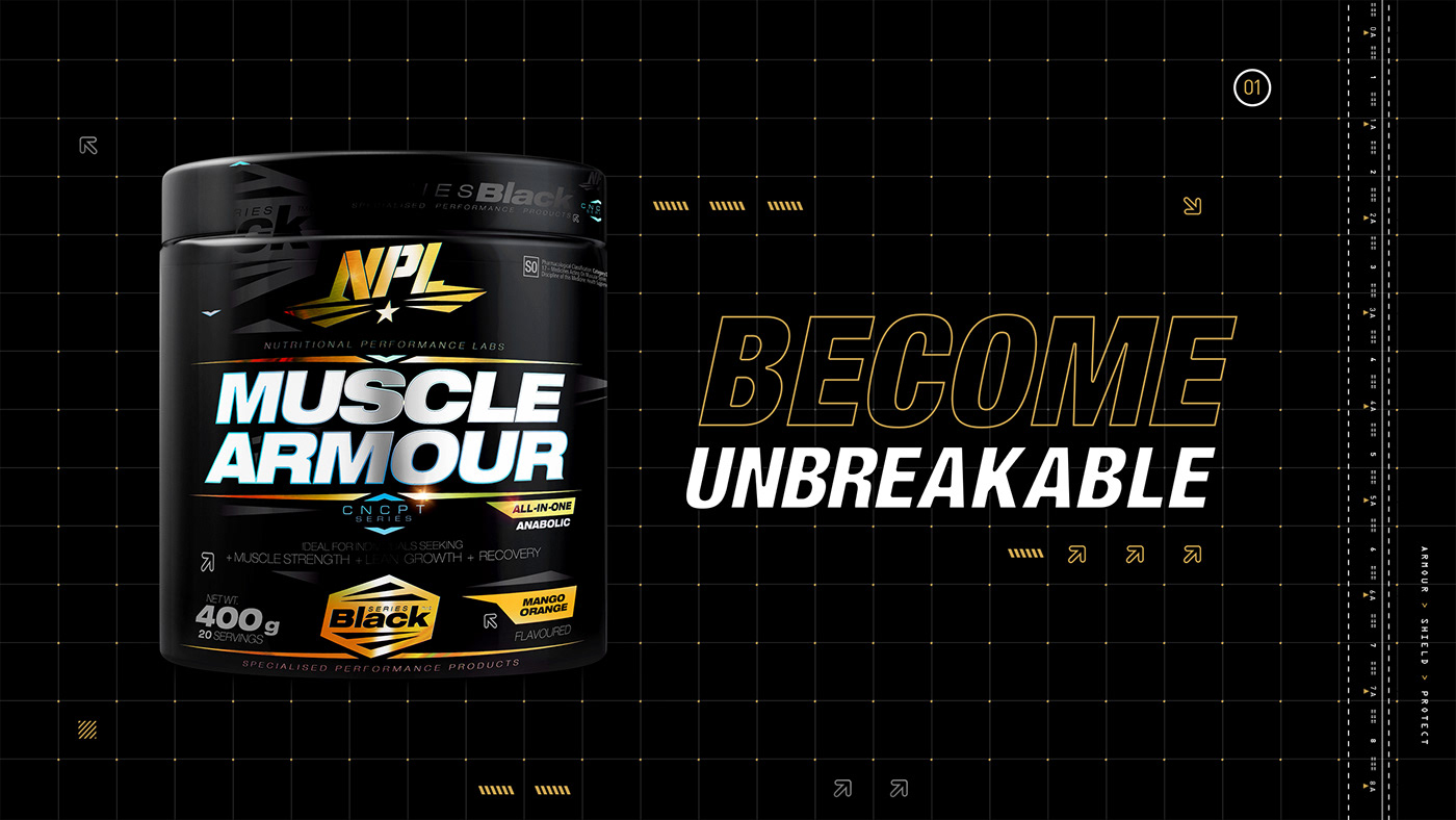 Pack shot of Muscle armour gym supplement