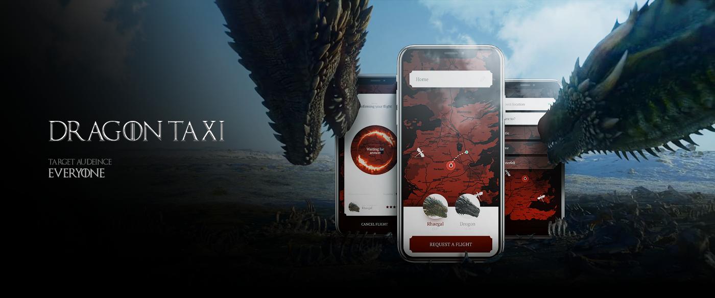 Game of Thrones app Mobile app dashboard series Netflix dark hulu hbo UI/UX