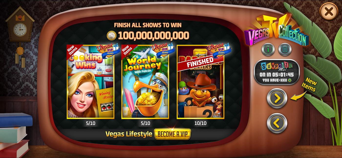 art direction  casino Collection playtika product UI Vegas