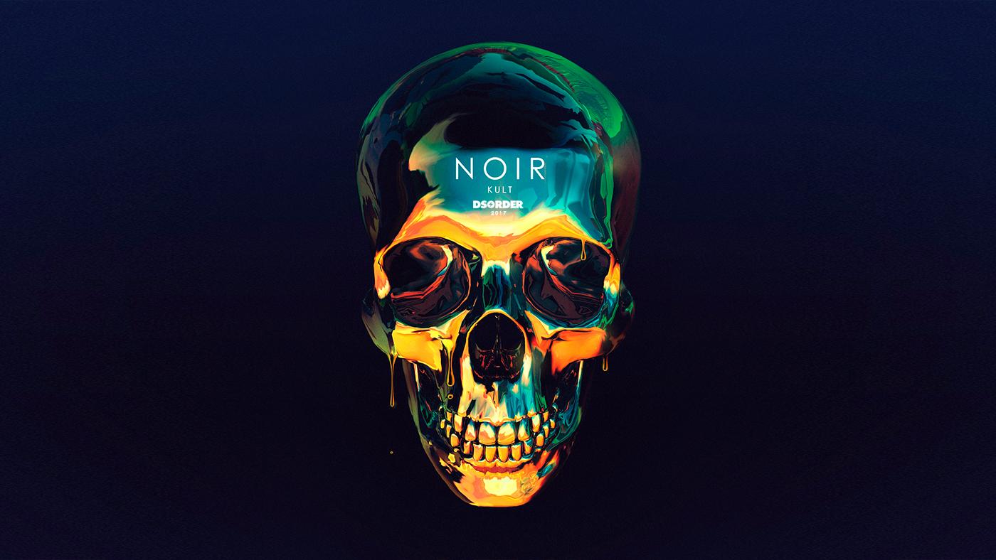 music Album cover noir black electronic chrome skull design ILLUSTRATION