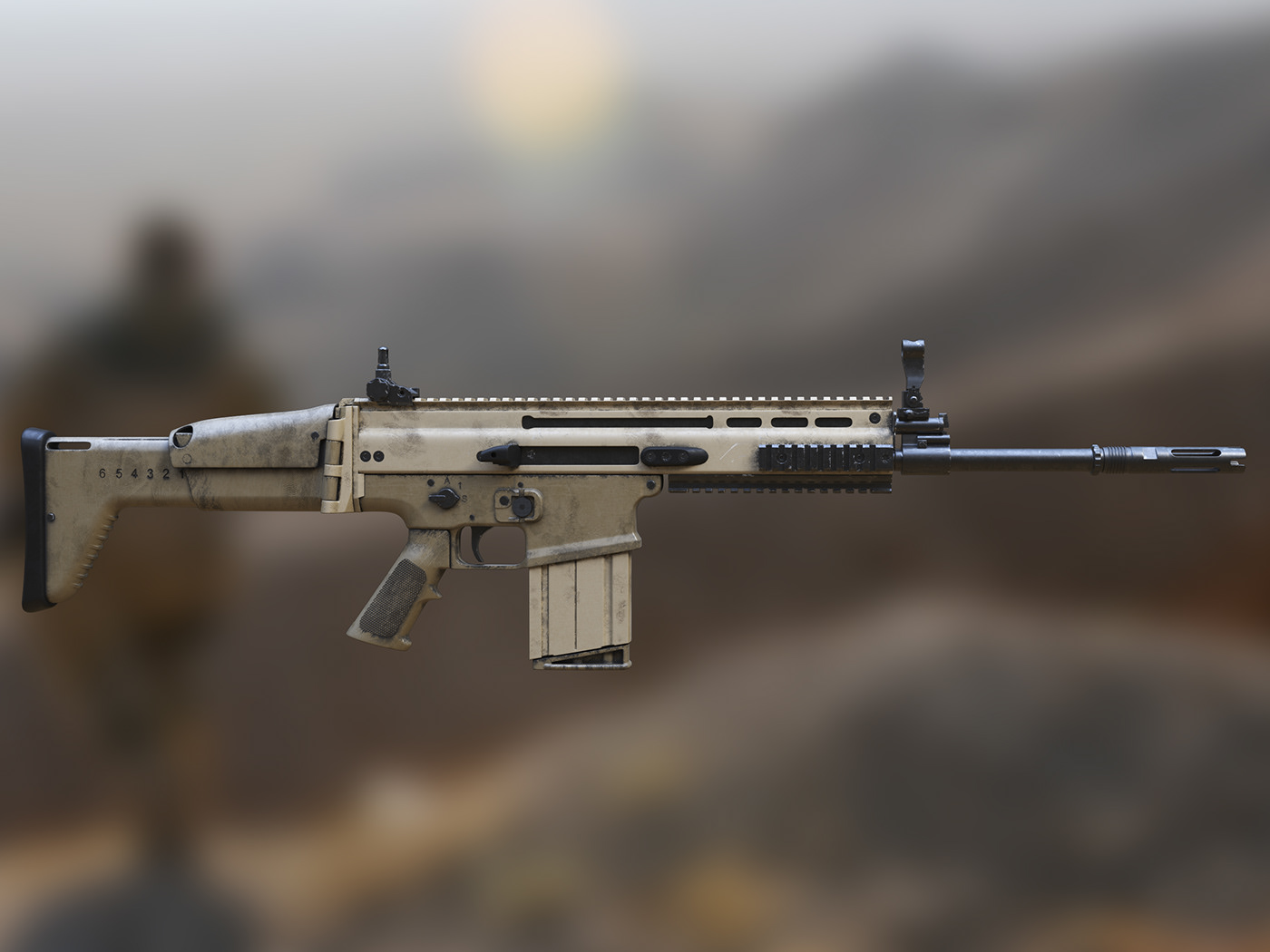 3D weapon,3D Rifle,vray gpu