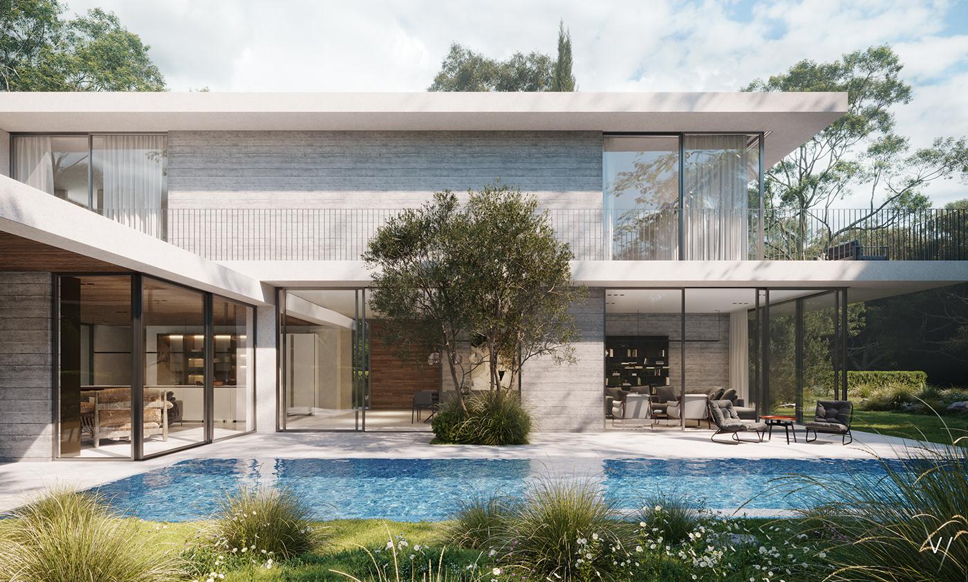 3dmax architecture CoronaRender  design Interior israel Nature photoshop private house vizlinestudio