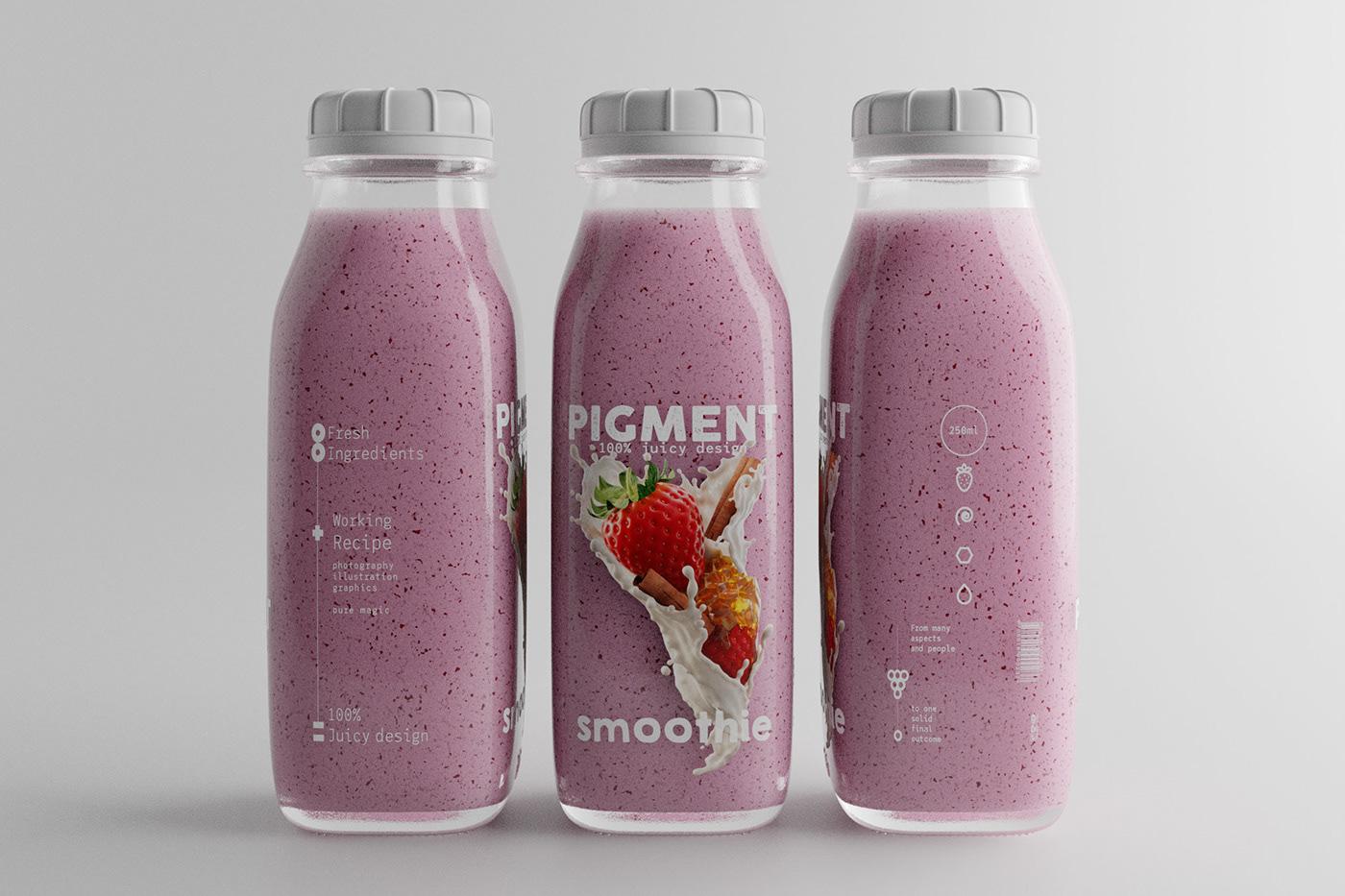 splash blueberry rasberry strawberry milk honey cinnamon product visualisation label design