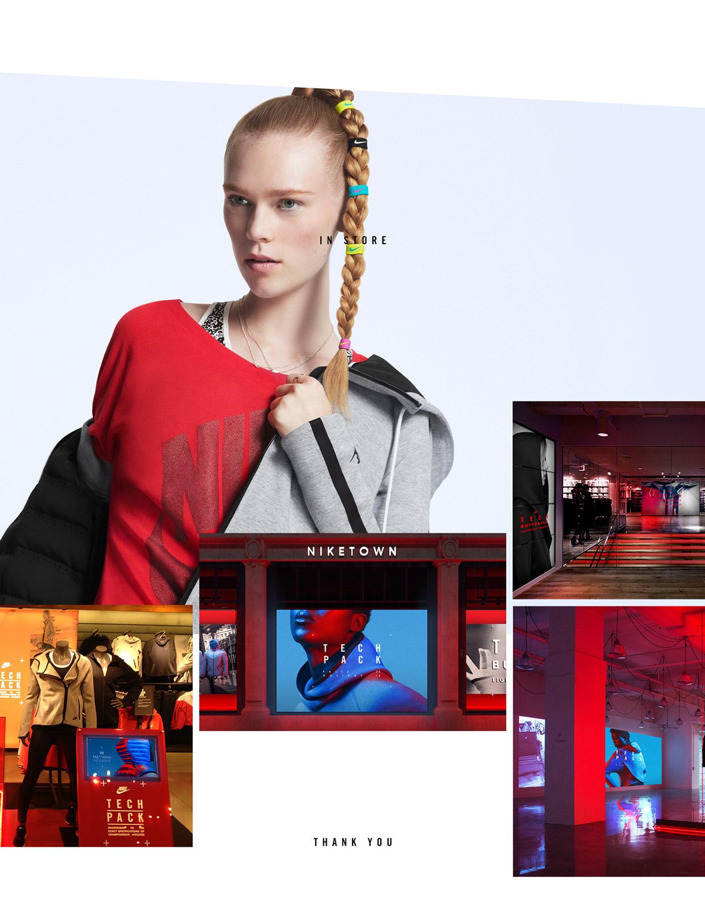 Nike app flat color tech Pack UI minimal iPad installation experimental look sport book Layout