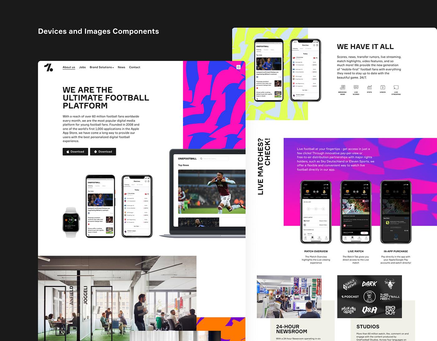 edgy football landingpage mobileapp Patterns Webdesign Website