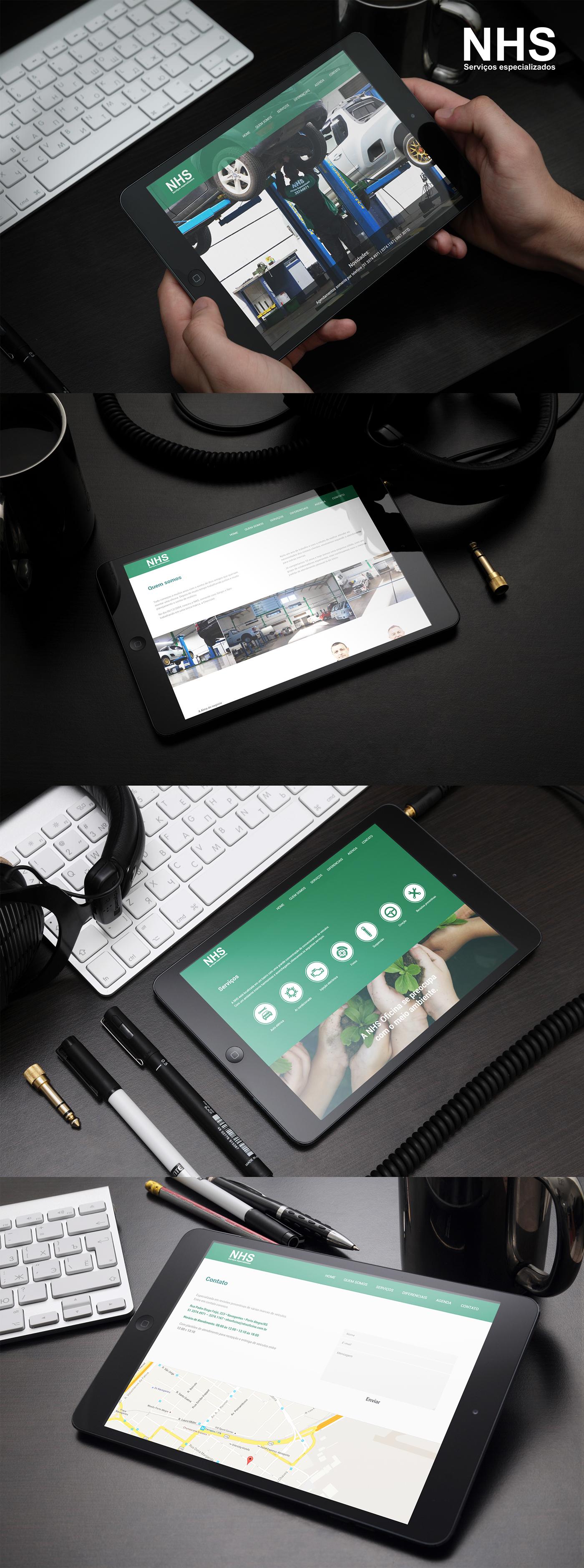 oficina nhs serviços Mecanica Interface Website parallax