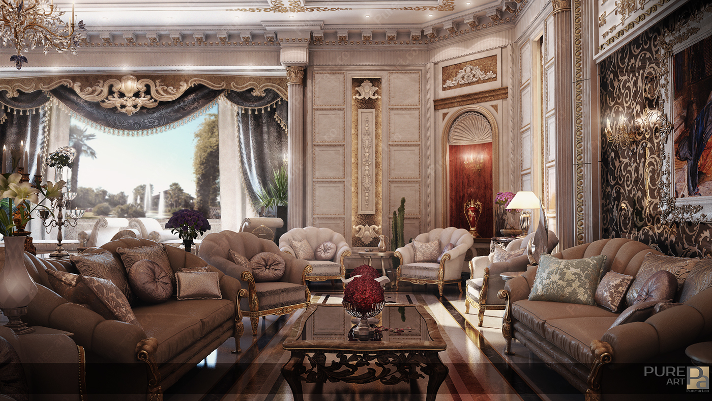 Classic majlis uae on behance for Classic villa interior design