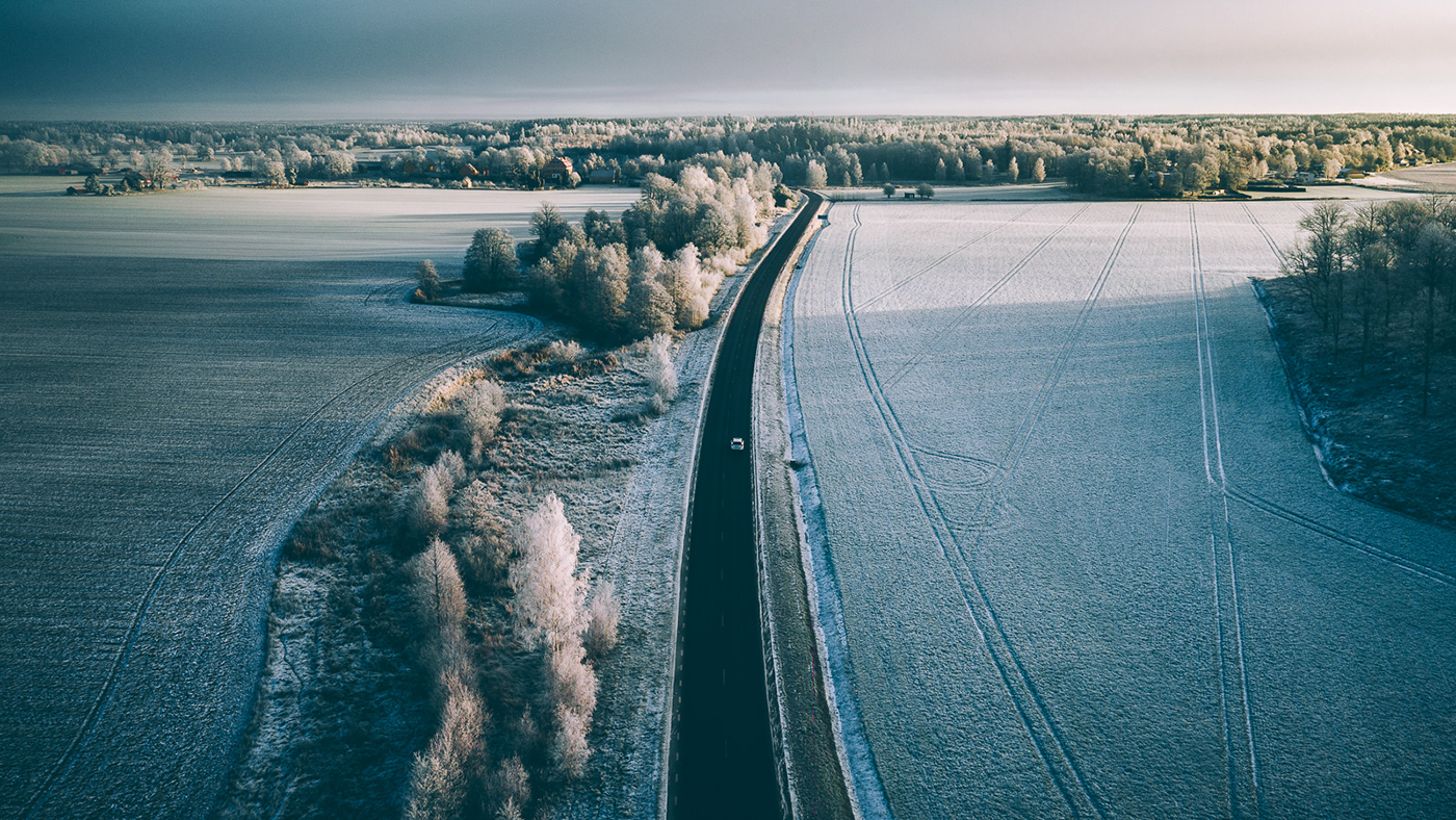 Nature Landscape drone Aerial winter frost airpixels Sweden forest