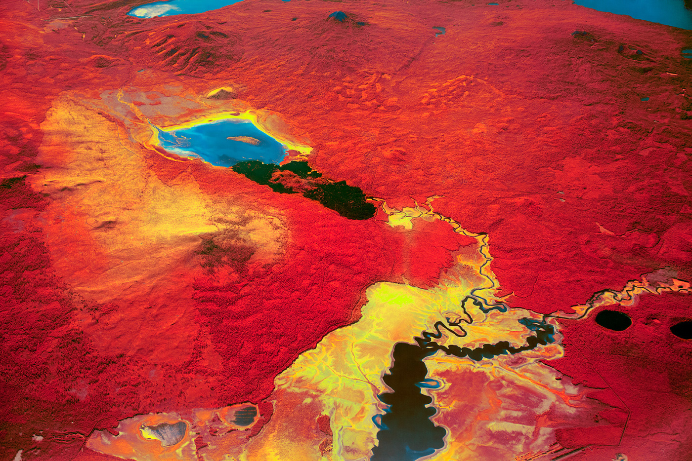 Vivid lakes and rivers photograph shot from an aerial perspective