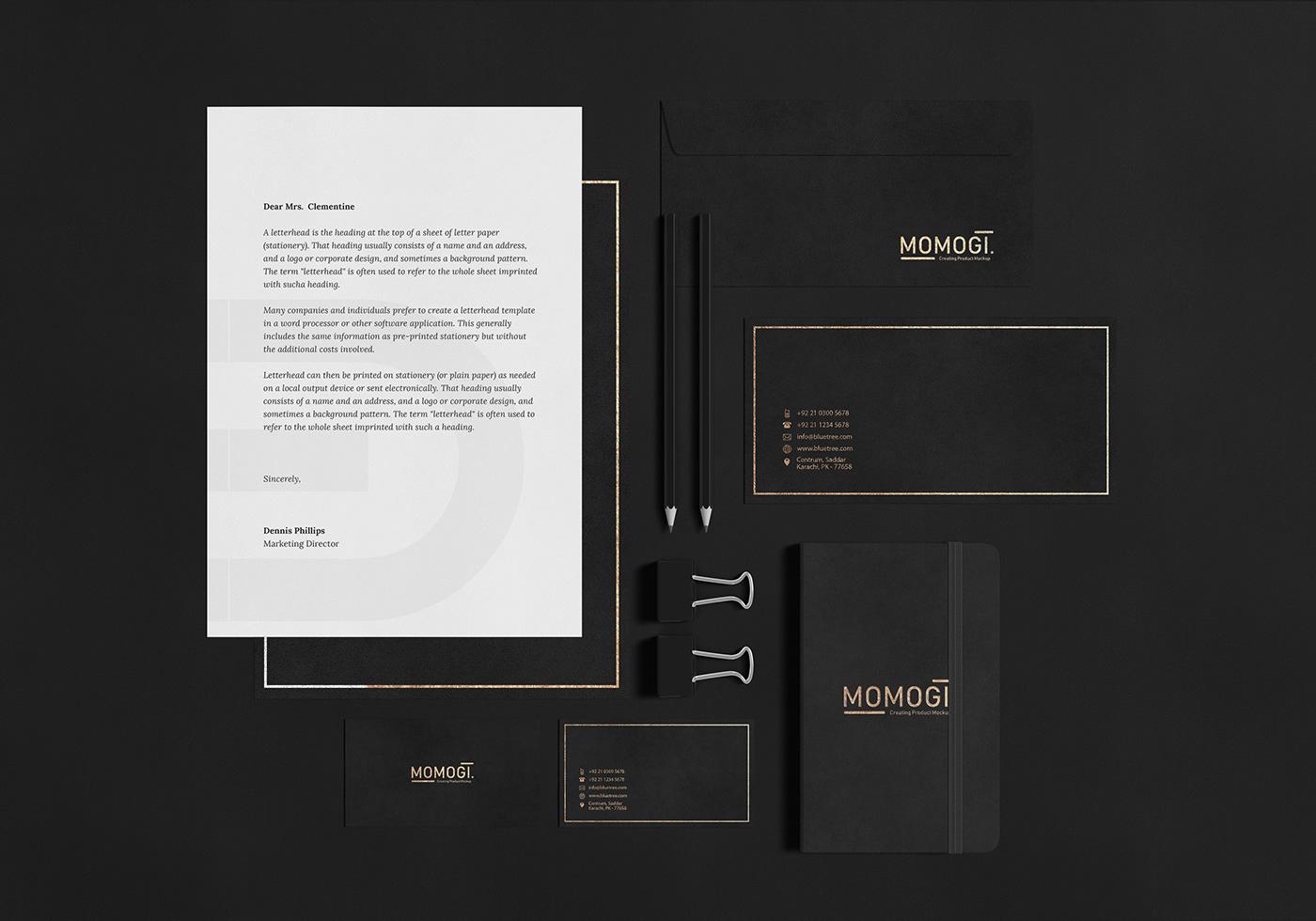 black branding  identity mock up mock-up Mockup Stationery logo presentation free