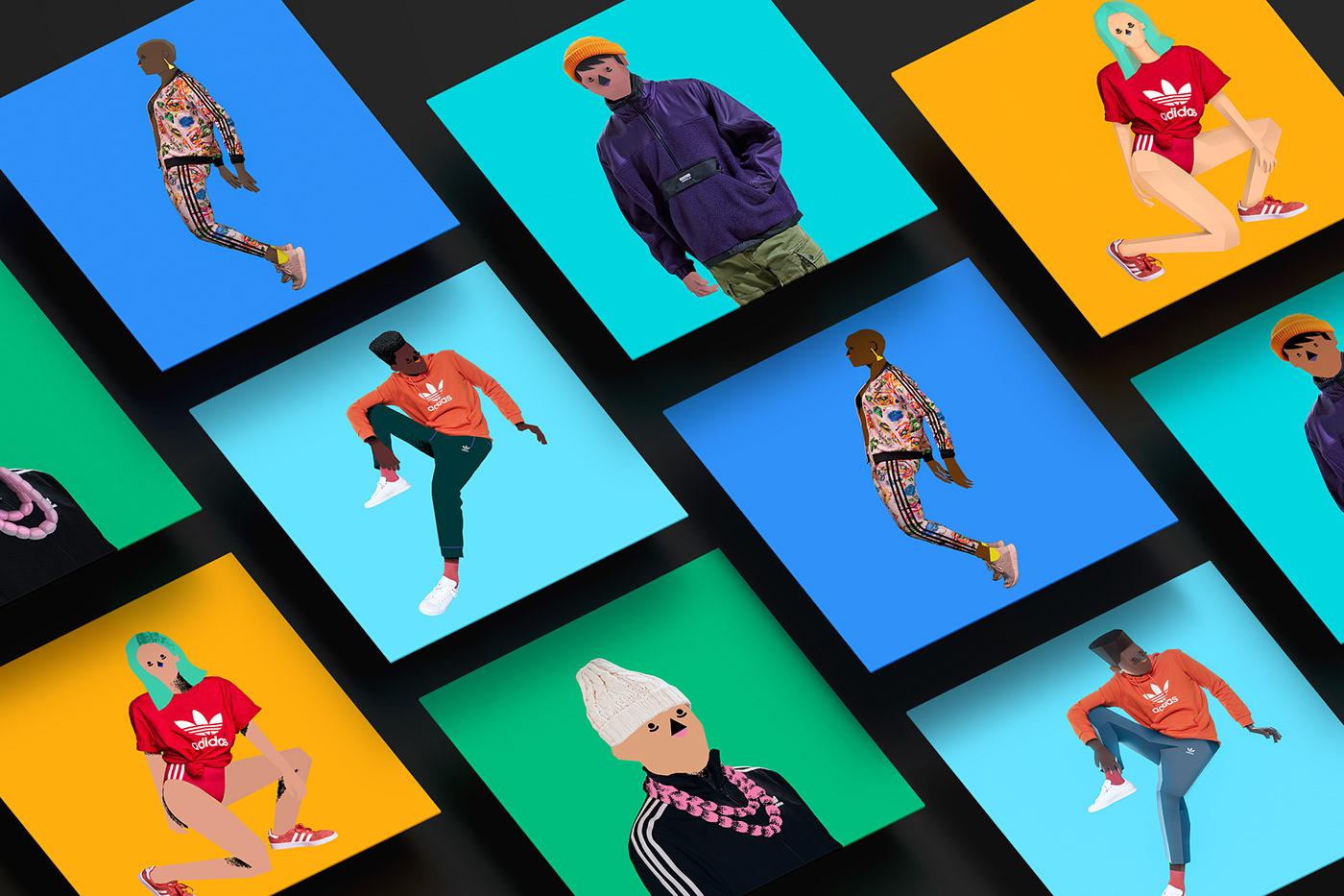 2D 3D adidas adidas originals cinema 4d Fashion  ILLUSTRATION  Octane Render photoshop Procreate