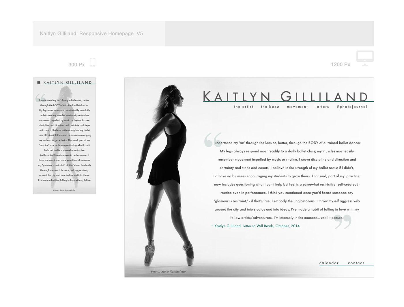 Responsive website design concepts for ballerina