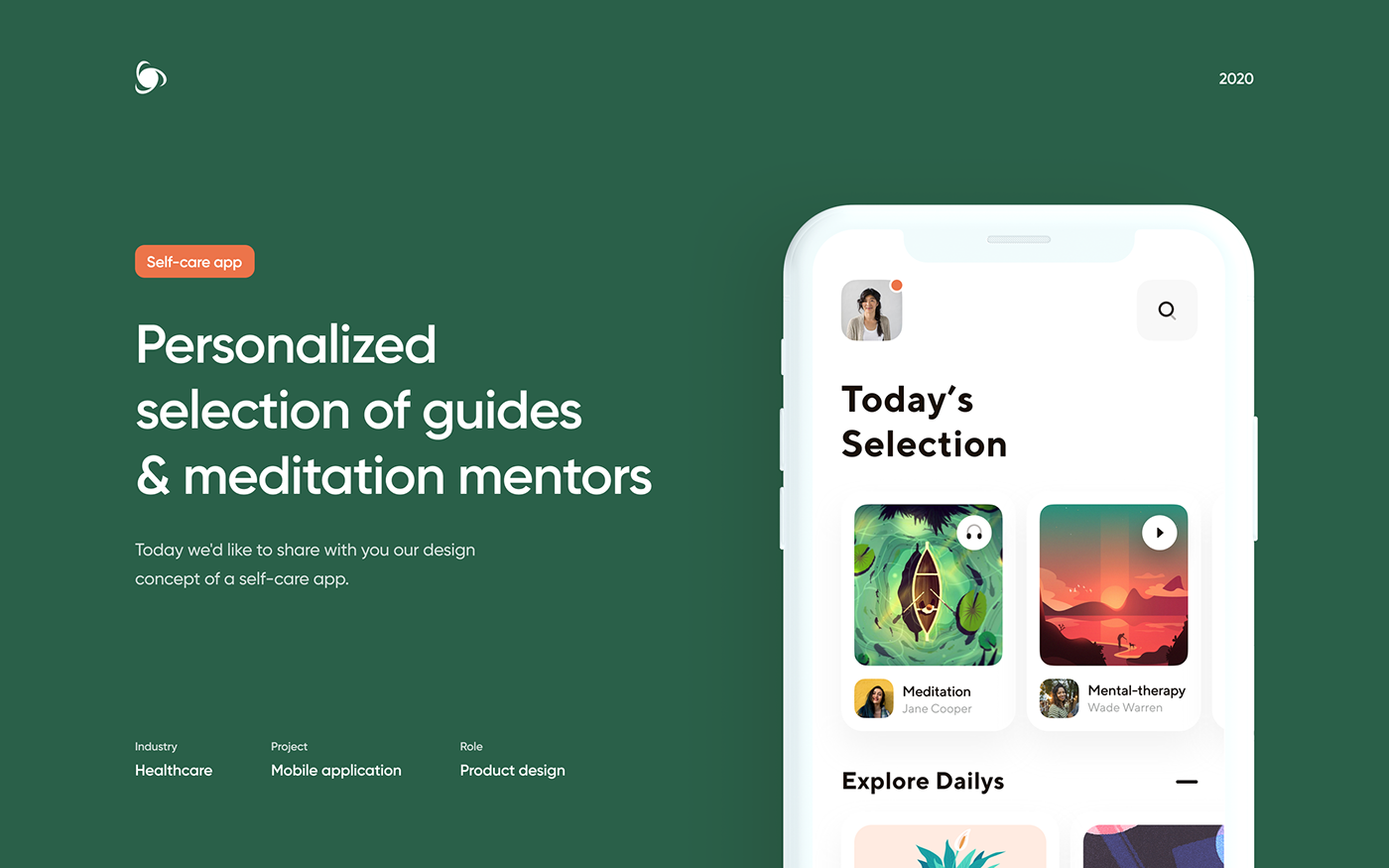 calendar Health healthcare lesson meditation mental health mobile self-care UI ux