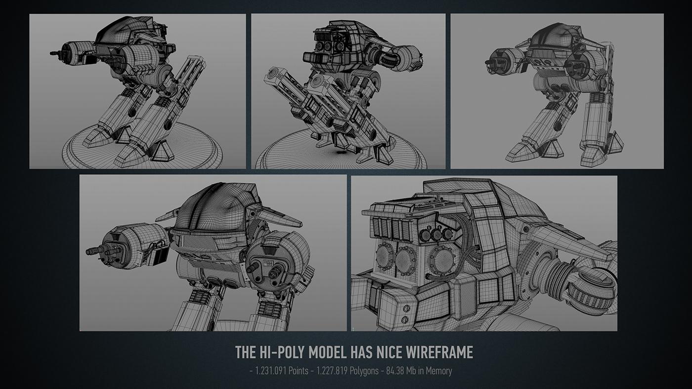 robocop draw scetch pencil ed-209 3D modelling