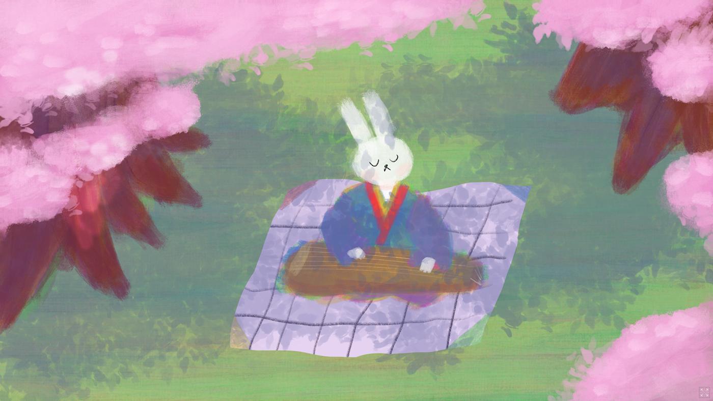 game Musical rhythm Web koto rabbit japanese music traditional instrument