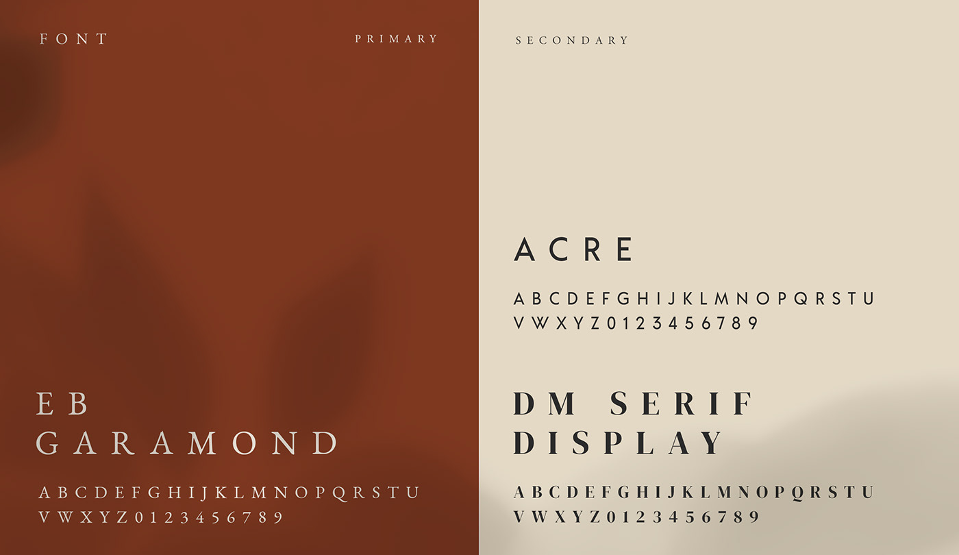 font acre EB Garamond serif display primary font secondary font branding visual identity typeface