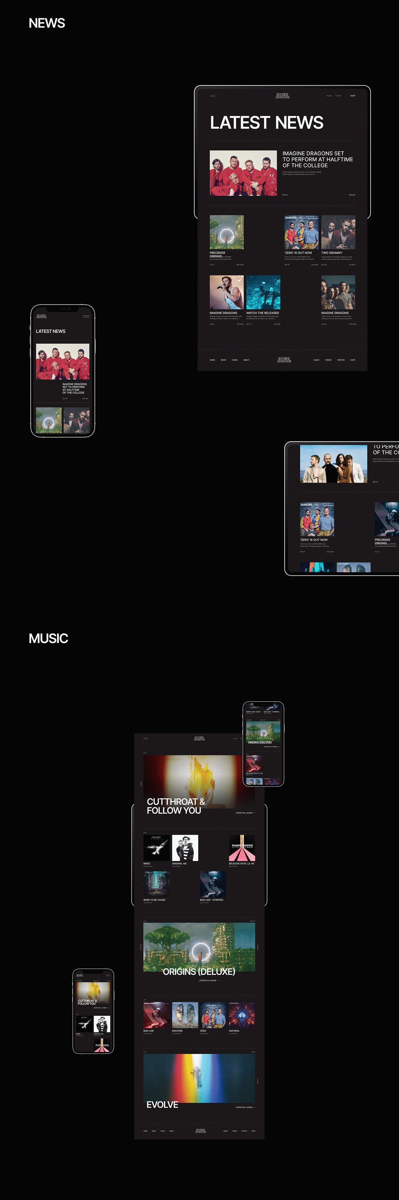 concept dj Imagine Dragons music producer redesign rock typography   UI Website