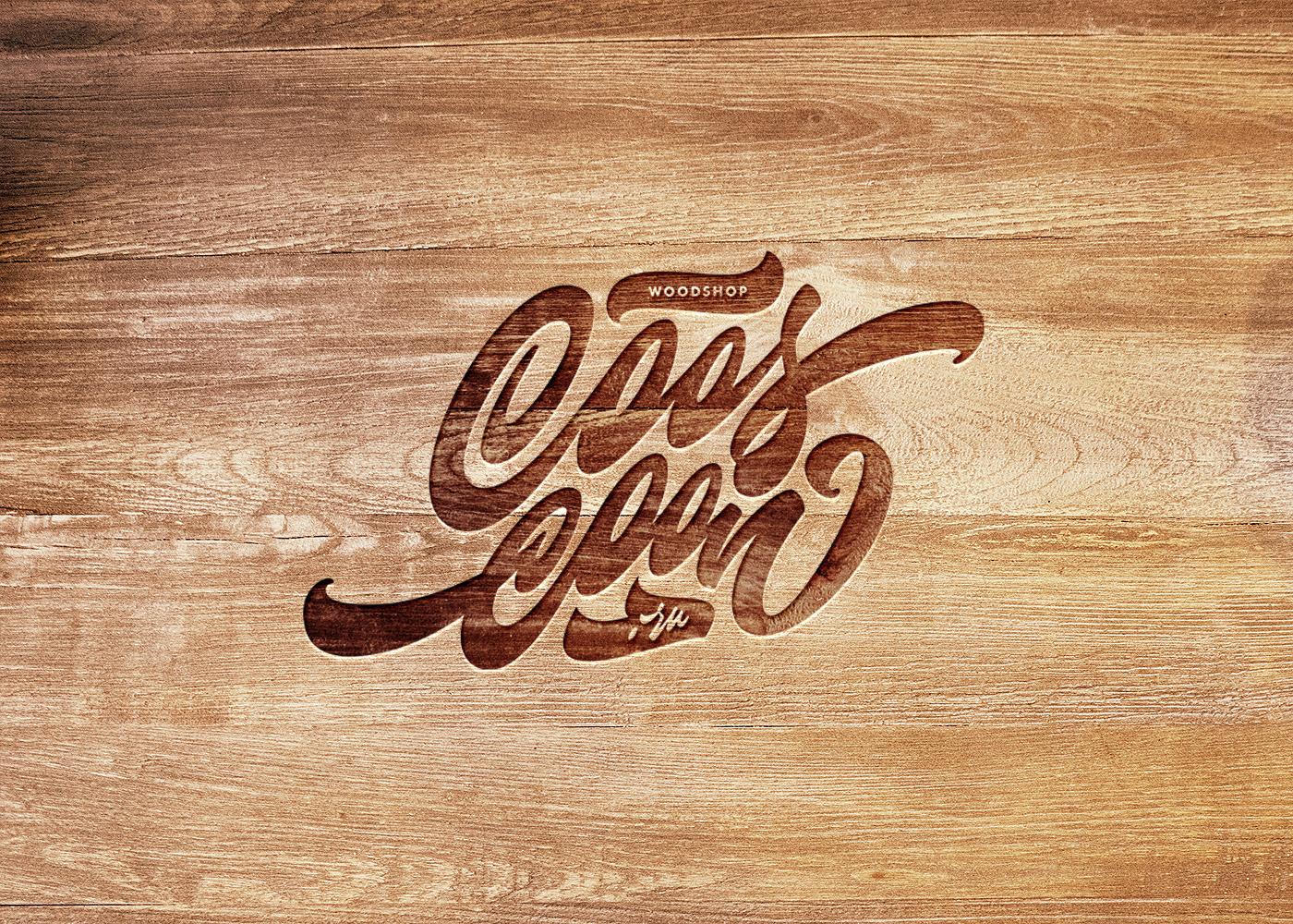 lettering hand-lettered logo logo Logotype woodshop Woodcraft hand-lettering