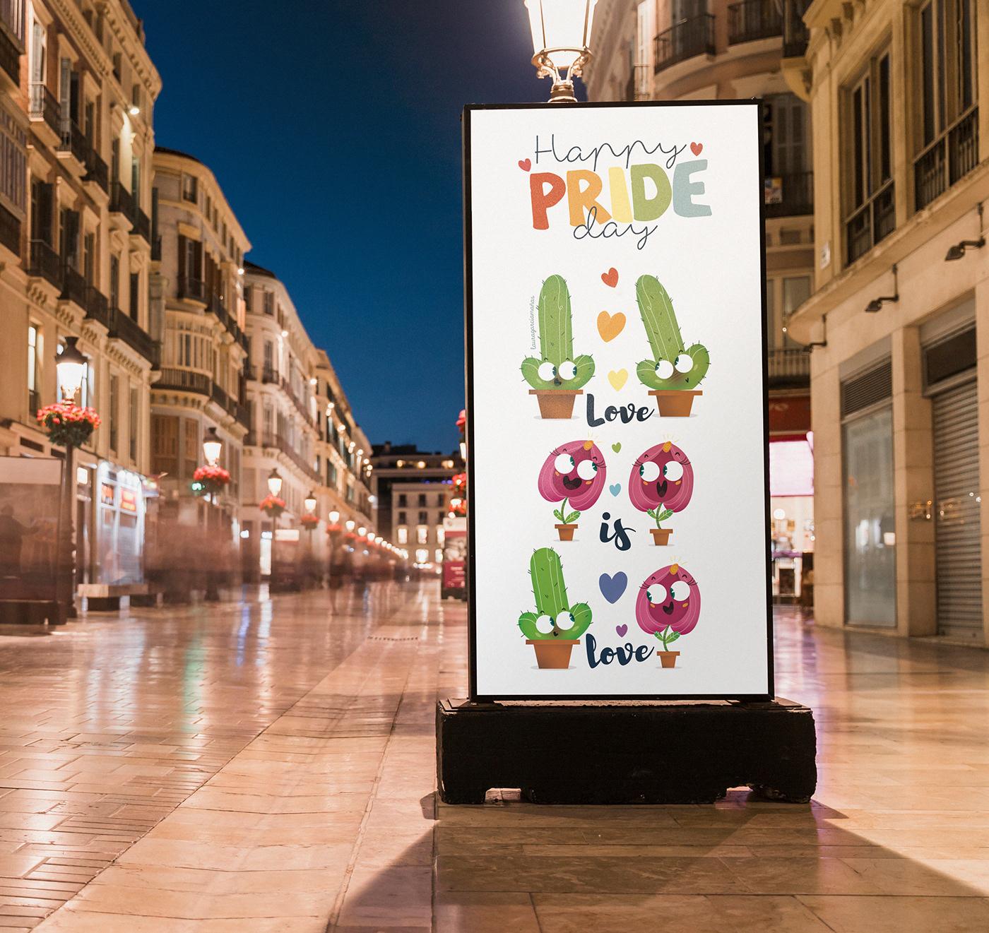 gay ilustracion pride cactus flor