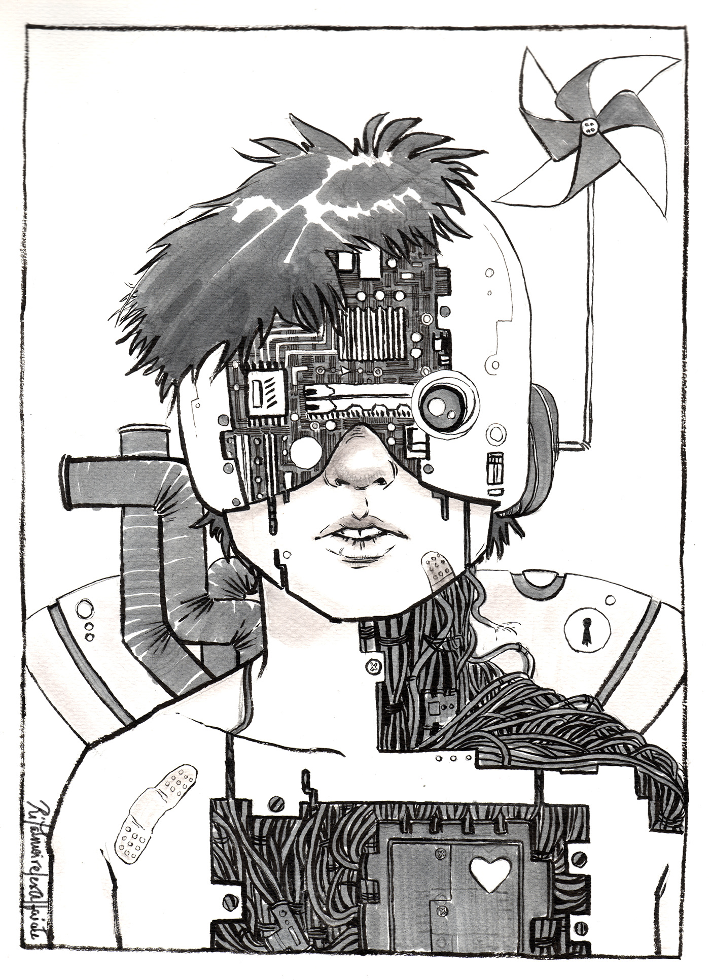 ink futuristic Cyborg monsters