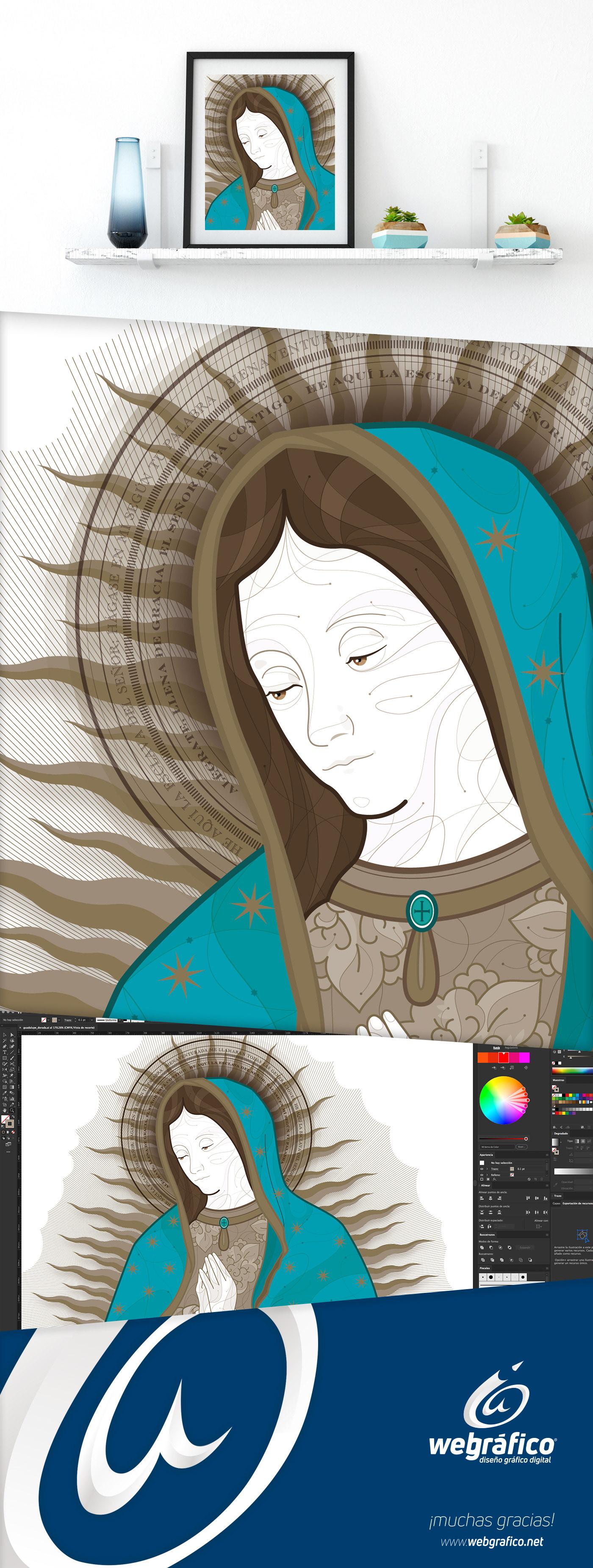 virgen miguel colunga aguascalientes mexico ilustracion webgrafico Guadalupe maria católico