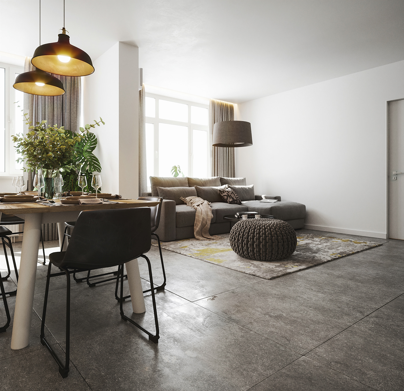 FStorm Scandinavian modern wood statuario concrete grey ikea