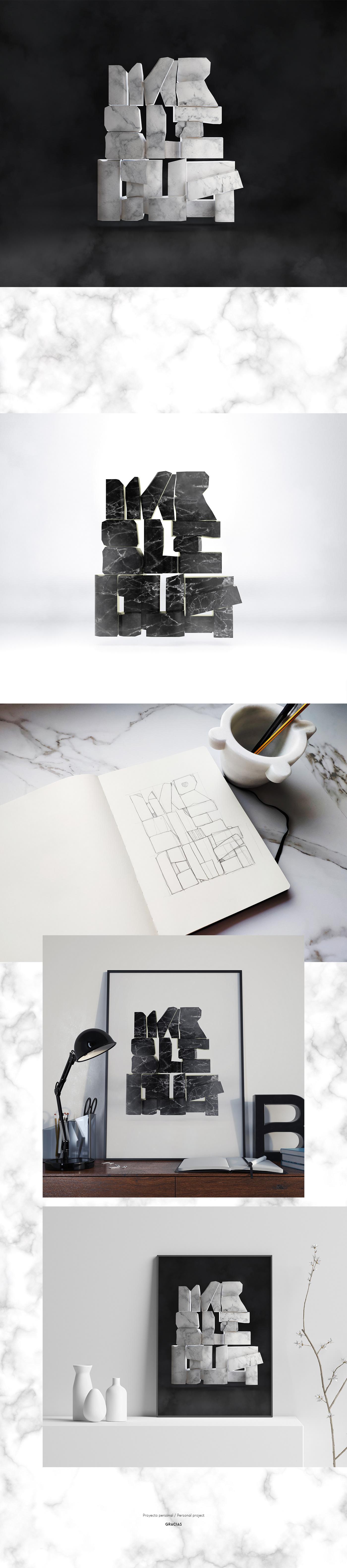 lettering 3D ilustracion dirección de arte cinema4d