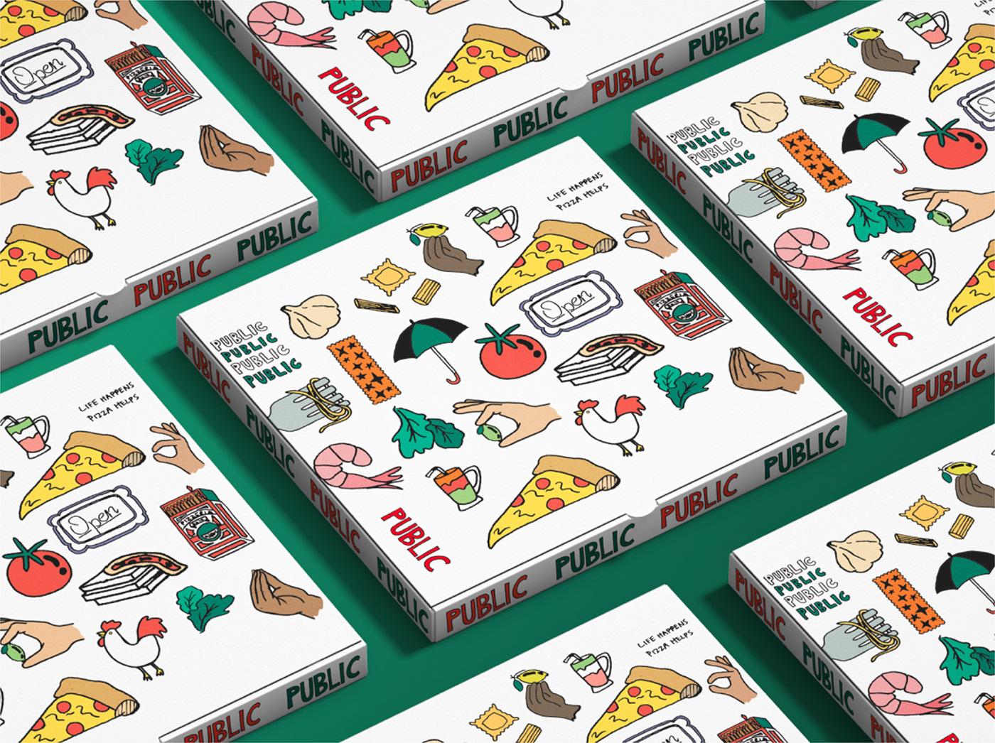 branding  design Food  graphic design  identity ILLUSTRATION  Pizza restaurant