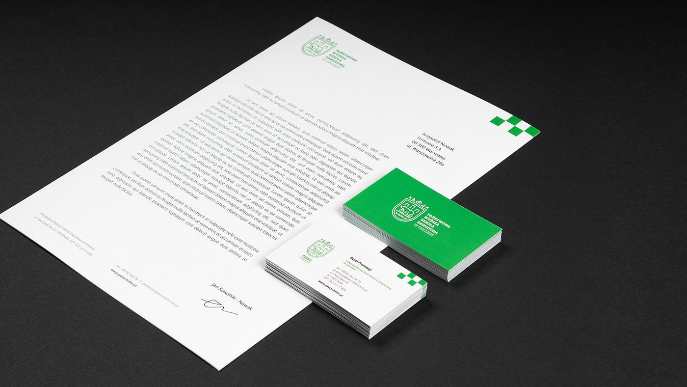 Uczelnia szkoła logo PWSZ univerity school green airforce bear white bear