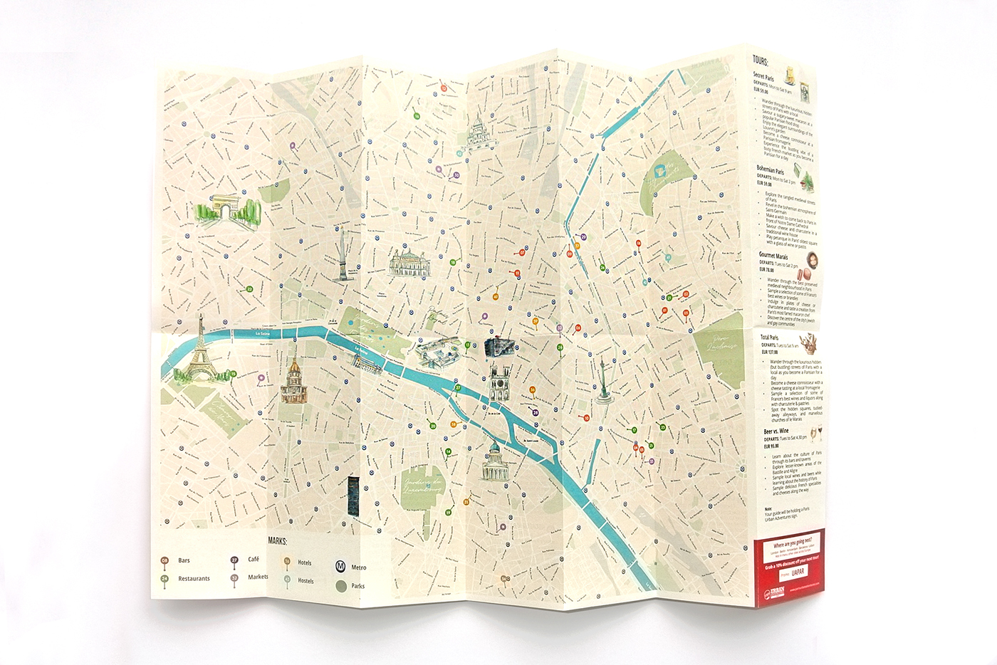 i worked with given list from agency and made simple clean practical travel guide for paris