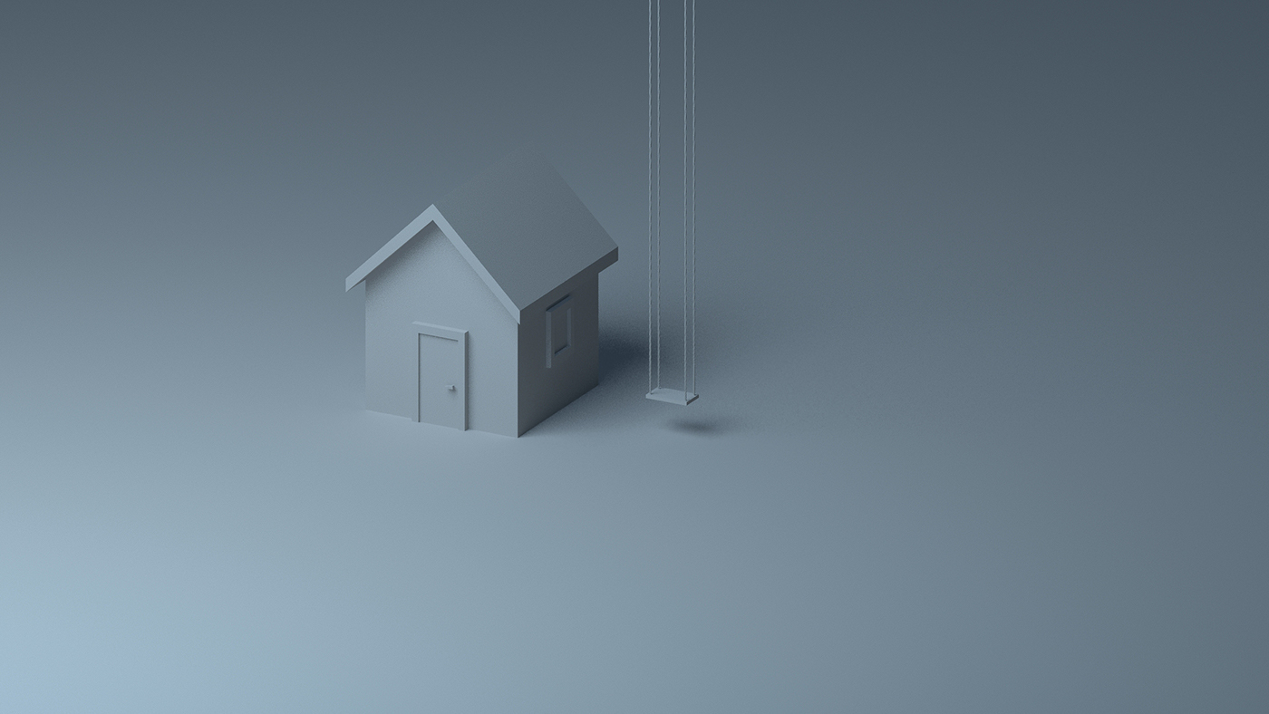 3D Isometric ortographic lighting Render house warm