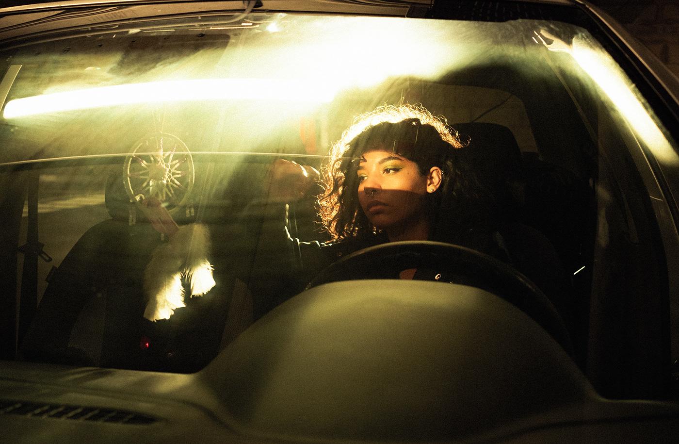 night lights neon glow car portrait night photography