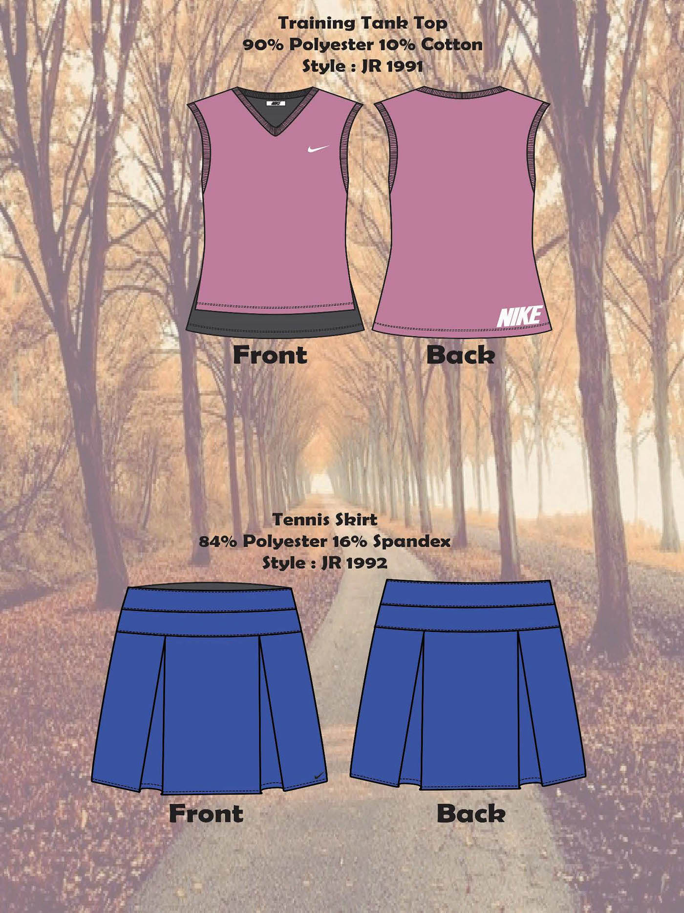 photoshop Illustrator Fashion  Nike FIDM branding  Line sheet