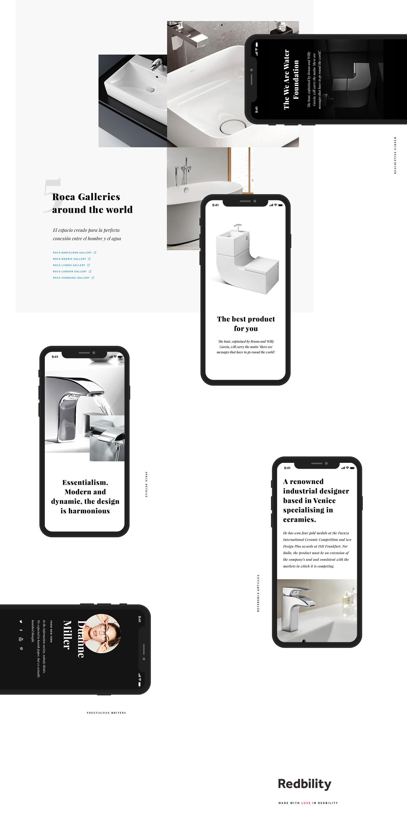 Responsive Web app UI ux Experience gallery Roca