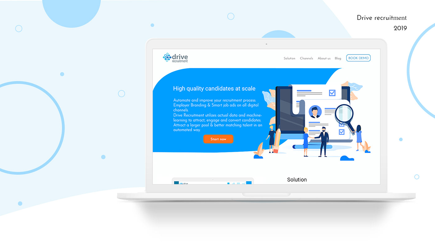 graphic design  Website landing page. recruitment Corporate Site photoshop b2b homepage machine learning UI/UX