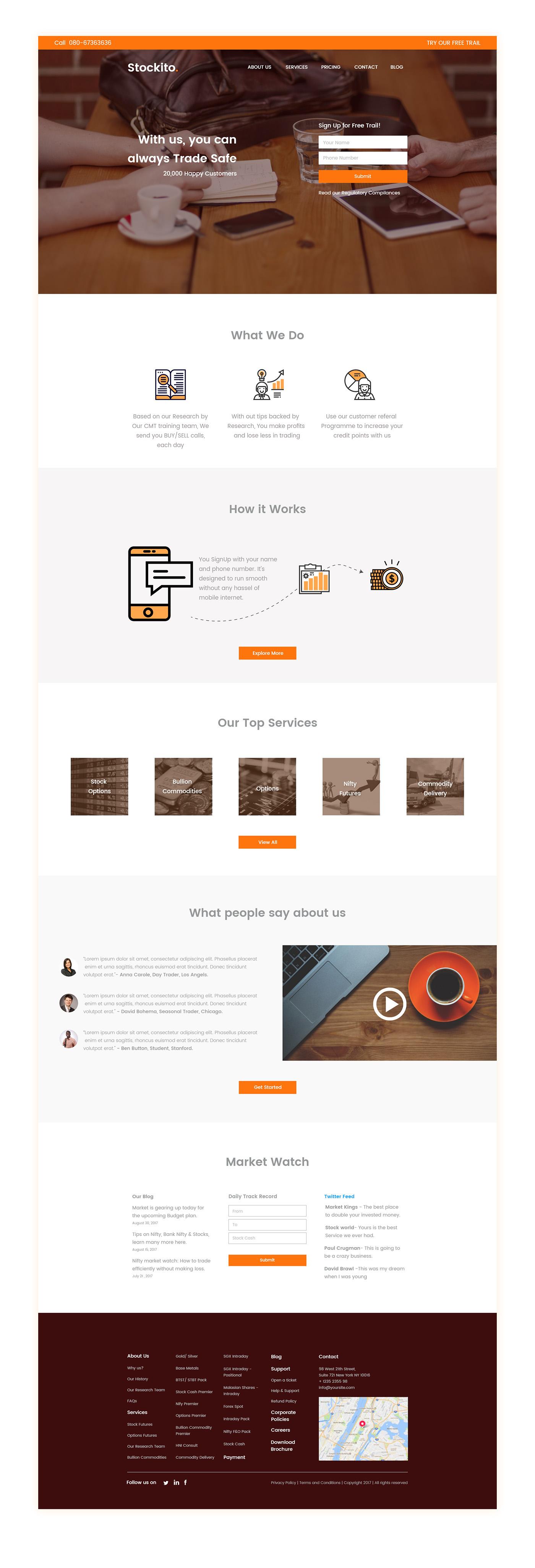 trading freebie India Hyderabad orange Web Design  Adobe Experience Design