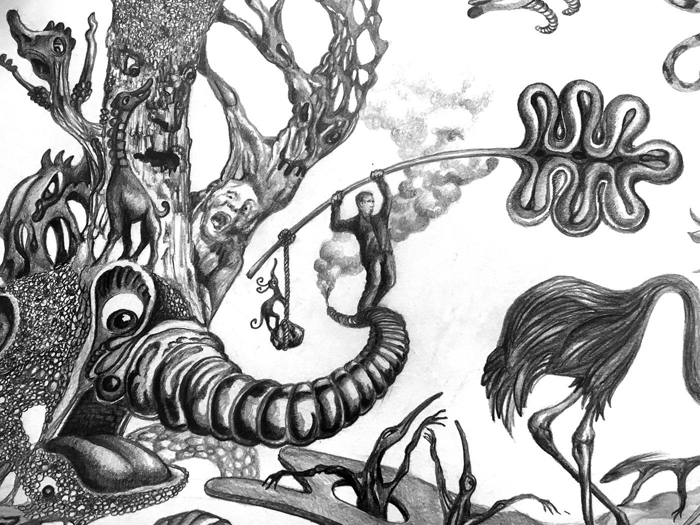 crayon dessin fantastique ILLUSTRATION  imaginaire paysage surrealiste animaux imaginaires Dessin au crayon paysage imaginaire