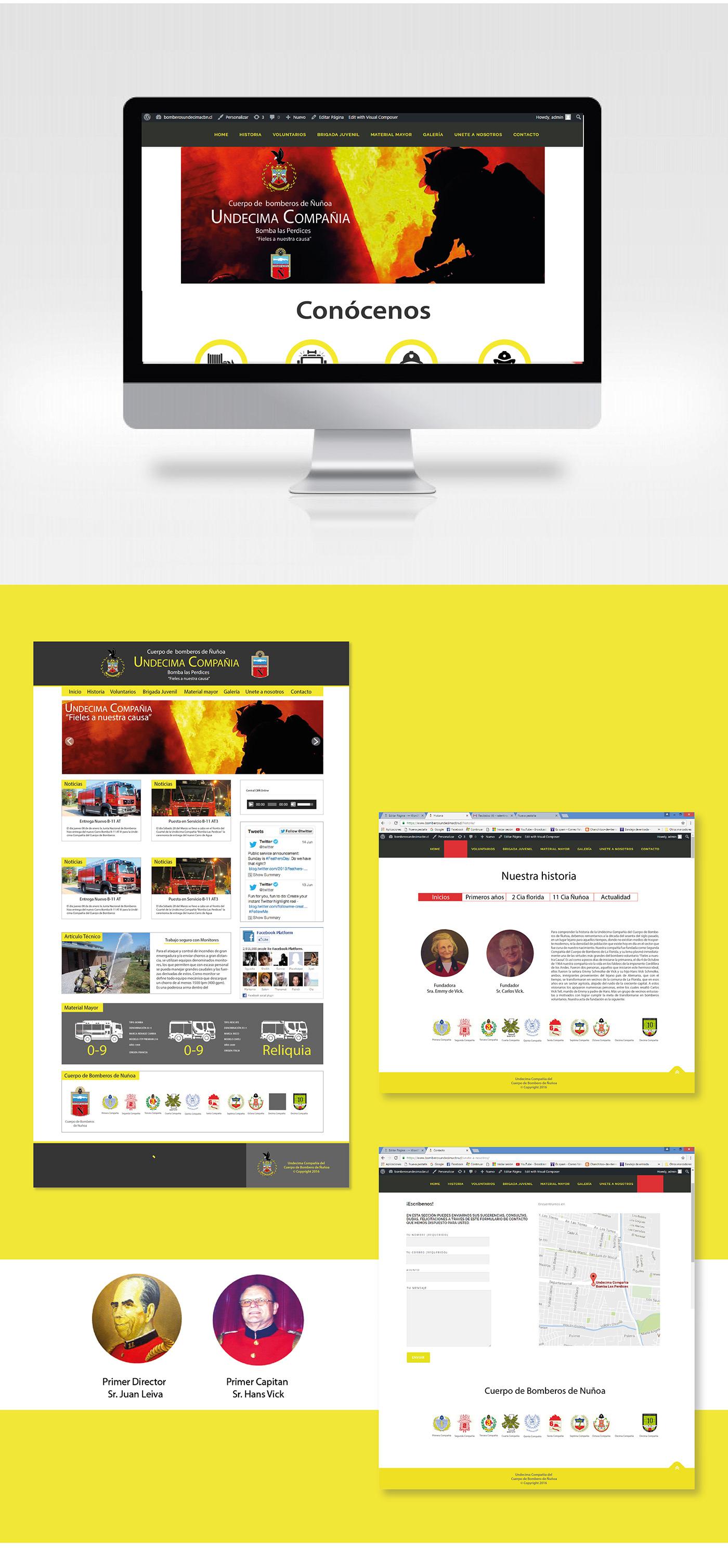 bomberos diseño gráfico Web