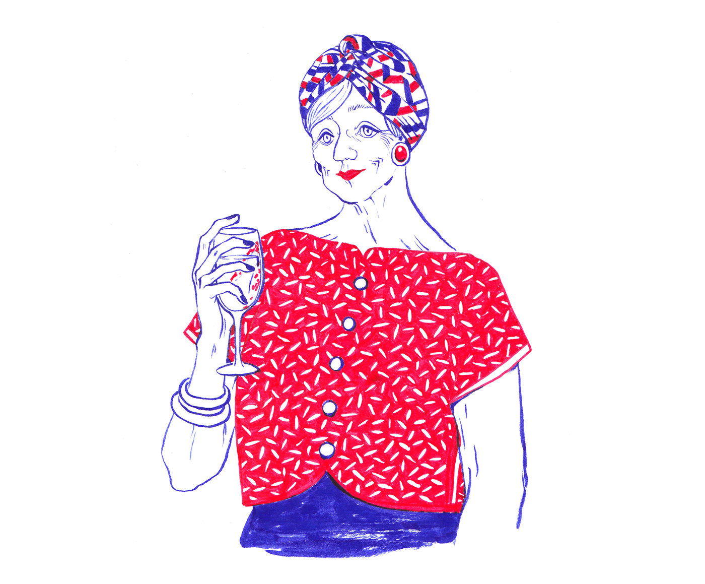 ILLUSTRATION  colorpen traditional handcrafted woman blue red Drawing