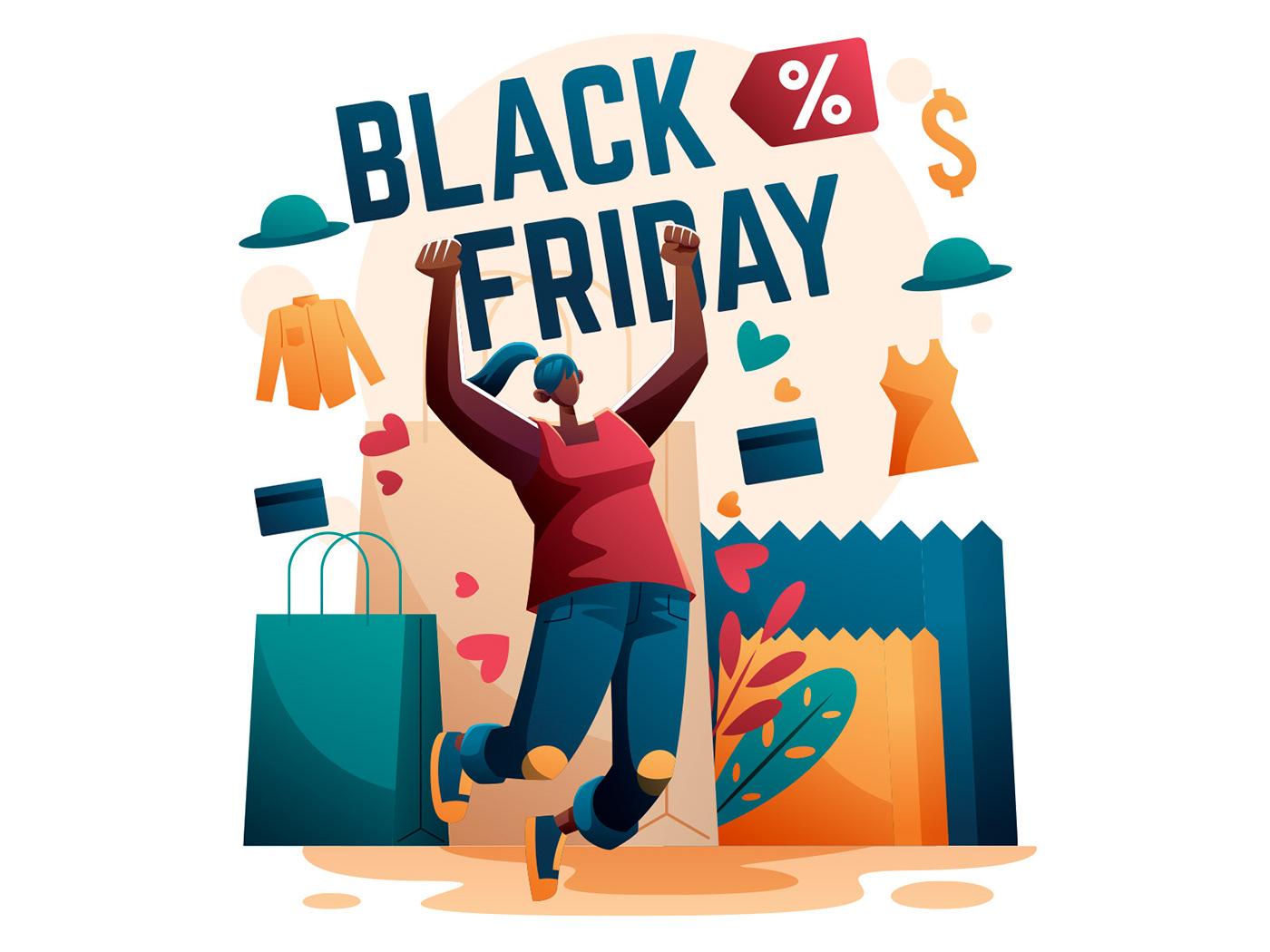 Black Friday Character freebie ILLUSTRATION  Illustrator Shopping illustration vector vector design vector download Vector Illustration