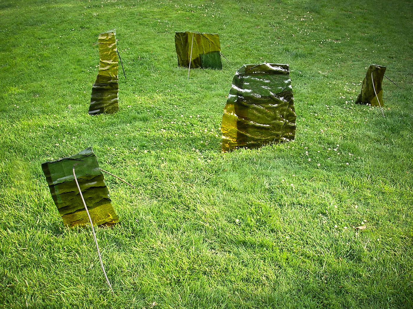 metal glass installation color fused glass minimal conceptual