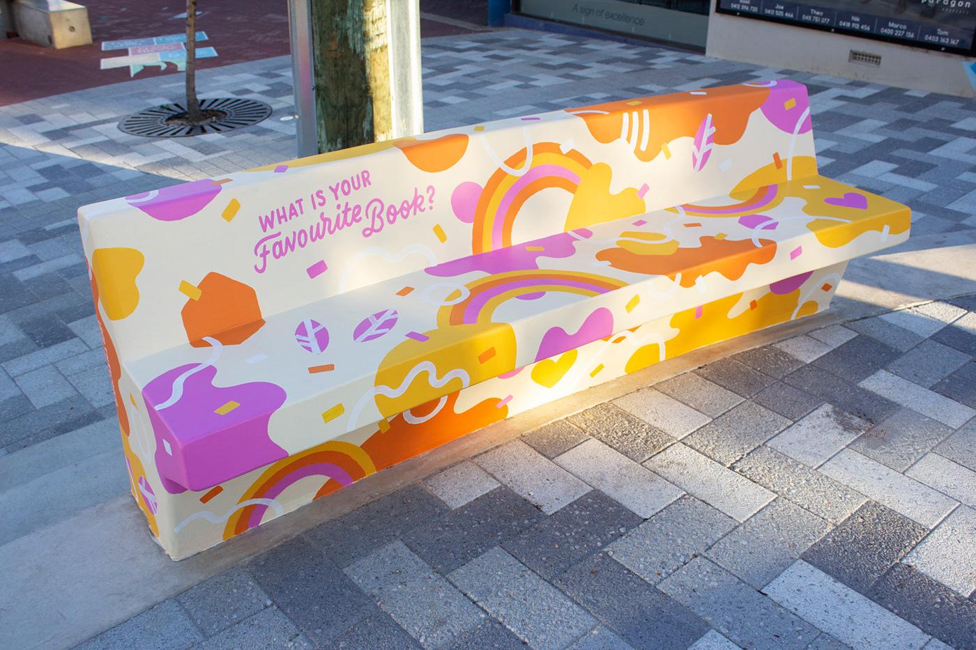north perth perth Mural bench lettering type urban art bench art